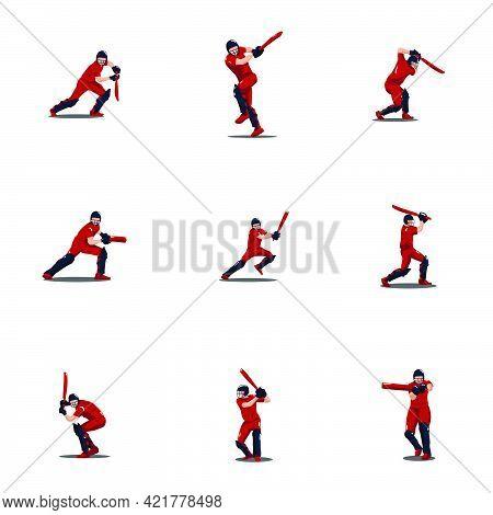 sport man hit the ball on cricket game cartoon set - cricket athlete cartoon set hit the ball isolated on white