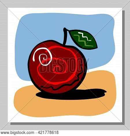 Minimalist Still Life With Red Apple. Abstract Composition. Vector Illustration.