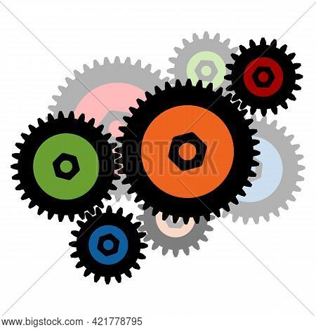 Colored Gear Mechanism On A White Background. Cogwheel Symbol. Vector Illustration.