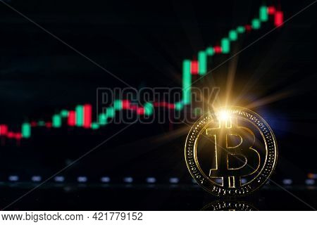 Bitcoin Wallet. Golden Bit Coin Virtual Cryptocurrency Or Blockchain Technology. Gold Crypto Currenc