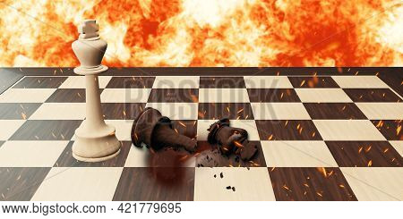 Fierce Battle Of Chess Board Games 3d Illustration