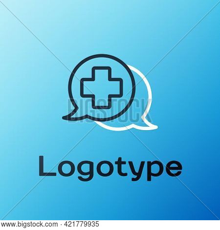 Line Dialogue With The Doctor Icon Isolated On Blue Background. Doctor And Patient Dialog. Consultin