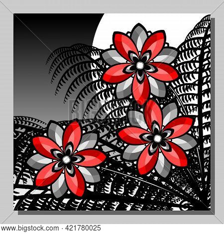 Stylized Night Landscape With Red Flowers And Fern Against The Background Of The Moon. Vector Illust