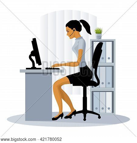 Female Secretary Works At The Computer In The Office. Call Center Operator Girl. Vector Illustration