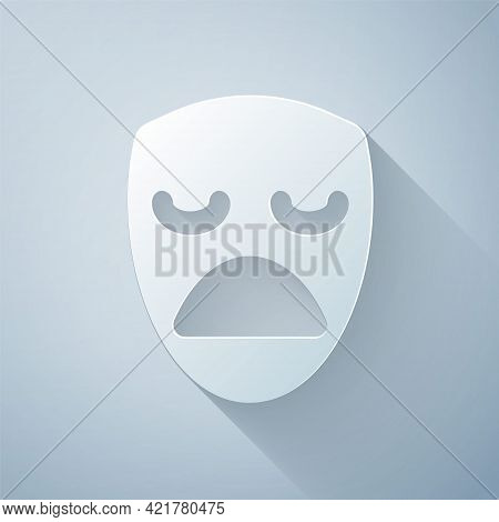 Paper Cut Drama Theatrical Mask Icon Isolated On Grey Background. Paper Art Style. Vector