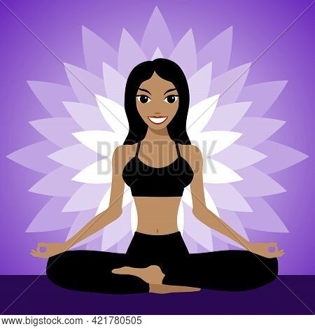 Happy Girl Is Engaged In Yoga. Young Woman Meditates In The Lotus Position. Vector Illustration.
