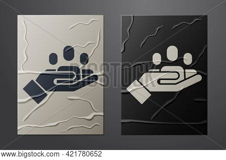 White Hand For Search A People Icon Isolated On Crumpled Paper Background. Recruitment Or Selection