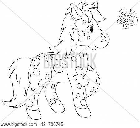 Spotted Cute Little Pony Playing With A Merry Flittering Butterfly, Black And White Outline Vector C