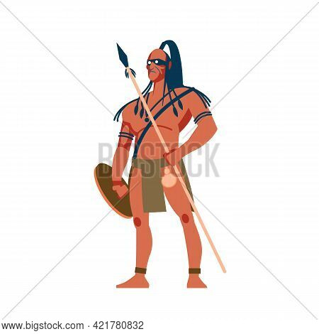 Armed Native People Of African Tribes, Australian And American Aboriginal Set, Tribe Member In Tradi