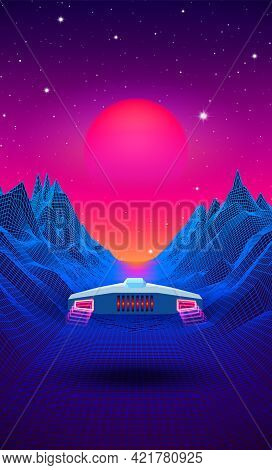Arcade Space Ship Flying To The Sun Over The Blue Landscape With 3d Mountains. 80s Style Sci-fi Synt