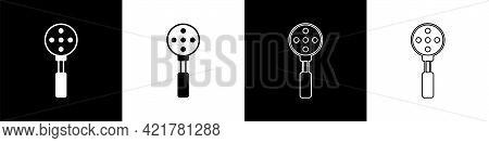 Set Spatula Icon Isolated On Black And White Background. Kitchen Spatula Icon. Bbq Spatula Sign. Bar