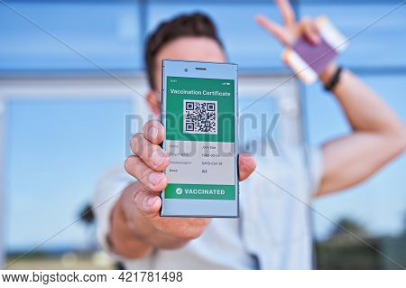 Hand Man Holding Smartphone Displaying On App Mobile Valid Digital Green Vaccination Certificate For