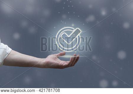 Digital Quality Control Certification Warranty Assurance Guarantee. Concept Of Future Internet Busin