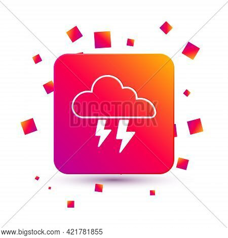 White Storm Icon Isolated On White Background. Cloud And Lightning Sign. Weather Icon Of Storm. Squa