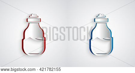 Paper Cut In Can Icon Isolated On Grey Background. Seasoning Collection. , Condiments In A Glass Can