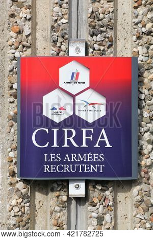 Macon, France - March 15, 2020: Armed Forces Information And Recruitment Center Sign On A Wall In Fr