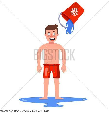 A Naked Man Pours Himself Water From A Bucket. Flat Vector Illustration.