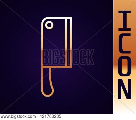 Gold Line Meat Chopper Icon Isolated On Black Background. Kitchen Knife For Meat. Butcher Knife. Vec