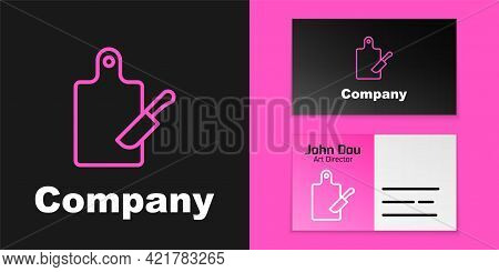 Pink Line Cutting Board And Knife Icon Isolated On Black Background. Chopping Board Symbol. Cutlery