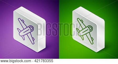 Isometric Line Plane Icon Isolated On Purple And Green Background. Flying Airplane Icon. Airliner Si