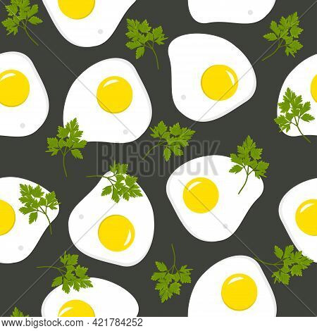 Fried Egg With Parsley Seamless Pattern On Black