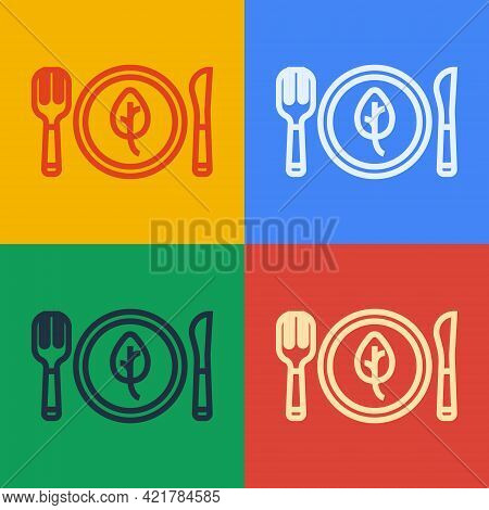 Pop Art Line Vegan Food Diet Icon Isolated Pop Art Line Background. Organic, Bio, Eco Symbol. Vegan,