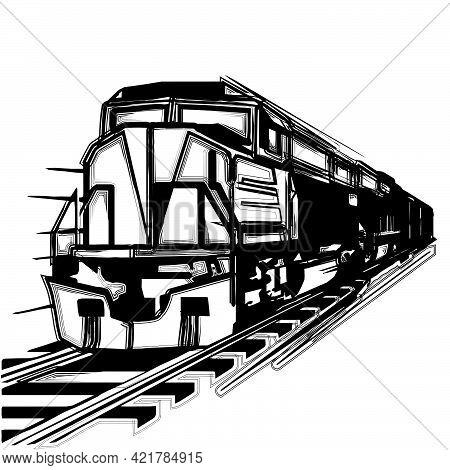 Locomotive Steam Train Speed Vector Cartoon Silhouettes