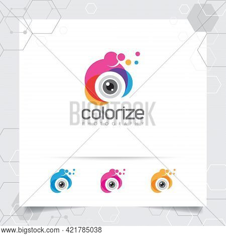 Photography And Photo Logo Design With Concept Of Colorful Camera Lens Icon Vector For Photographer,