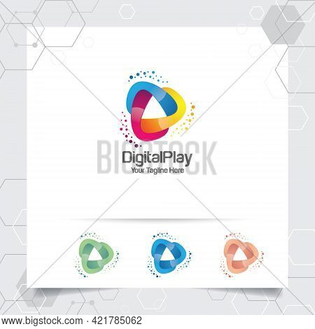 Media Play Logo Design Vector With Concept Of Colorful Play Music Icon For Studio, Application, And
