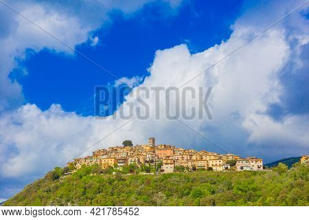 The Ancient Village Of Casperia Seen From Below, Located In The Province Of Rieti In Lazio In Italy