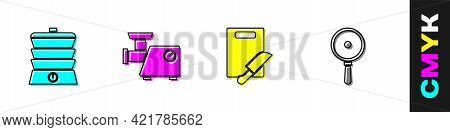 Set Slow Cooker, Kitchen Meat Grinder, Cutting Board And Knife And Frying Pan Icon. Vector
