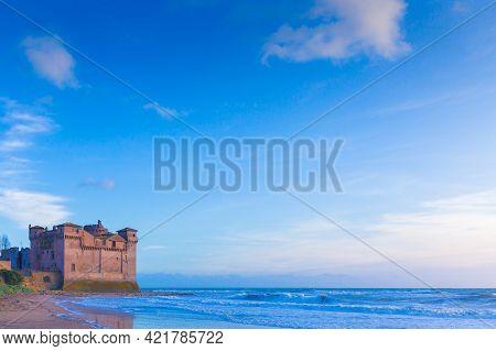 The Castle Of Santa Severa Located By The Sea In The Town Of Santa Marinella Nel Lazio In Italy.