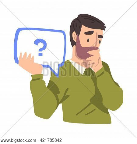Thoughtful Young Man Holding Speech Chat Bubble With Question Mark In His Hands, People Communicatin