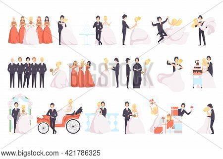 Big Set Of Just Married Couples And Their Guests, Happy Wedding Couples, Bridesmaids And Friends Of