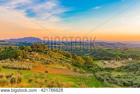 Panoramic View Of The Sabina Countryside With Mount Soratte In The Background In Lazio In Italy.