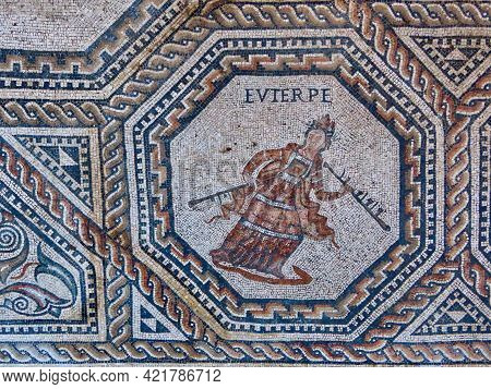 Euterpe Holding Flutes - One Of 9 Muses Portrayed In Medalion With Geometric Ornamented Borders. The