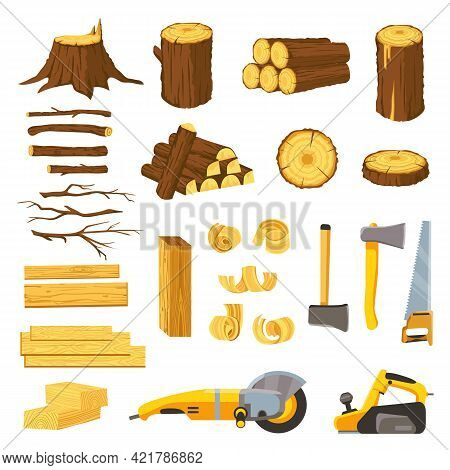 Lumber Industry Materials And Tools. Wood Planks, Logs, Board And Tree Chips. Axe, Chisel, Saw, Grin