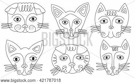 Abstract Funny Cat Faces Line Drawing Set. Portrait Minimalistic Style. Surrealistic Line Drawing Ab