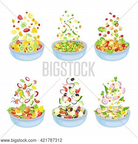 Vegetable Salad. Healthy Vegetarian Dish Explosion. Floating Fruit Slices And Pieces. Bowl With Sala