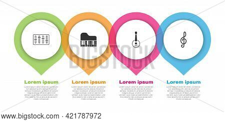 Set Sound Mixer Controller, Grand Piano, Banjo And Treble Clef. Business Infographic Template. Vecto
