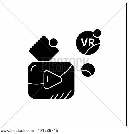 Vr Player Glyph Icon. Customizable Media Player For High Definition Vr Video Playback, Immersive Med