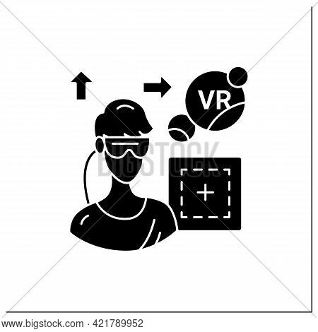 Vr Play Area Glyph Icon. Area Where Players Can Immerse Into 3d World. Special Room, Place. Modern T