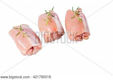 Raw Chicken Thigh Without Skin On A White Background Isolade. Three Pieces Of Chicken.chicken Thigh