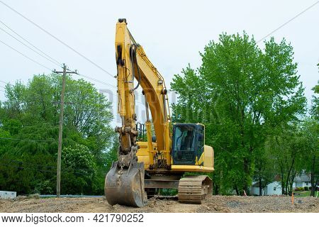 Excavator Loader Machine During Earthmoving Works Outdoors Heavy Yeloow