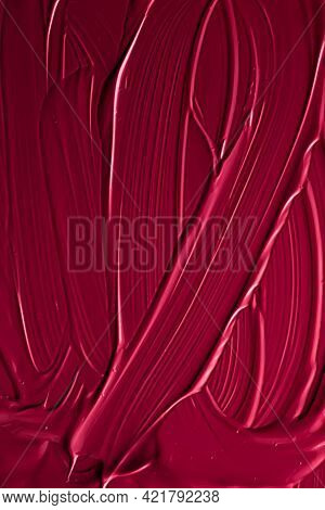 Red Lipstick Or Lip Gloss Texture As Cosmetic Background, Makeup And Beauty Cosmetics Product For Lu
