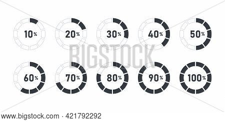 Loading Signs. Progress Visualization. Collection Of Loading Status Icons. Vector Illustration