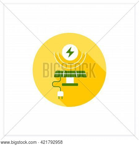 Solar Energy Flat Icon. Conversion Of Power From Sunlight Into Electricity. Solar Battery. Renewable