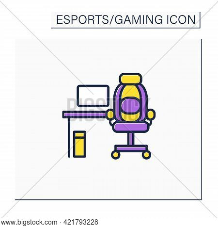 Furniture Color Icon. Comfortable Table And Armchair For Playing Games. Office, Game Room. Cyberspor