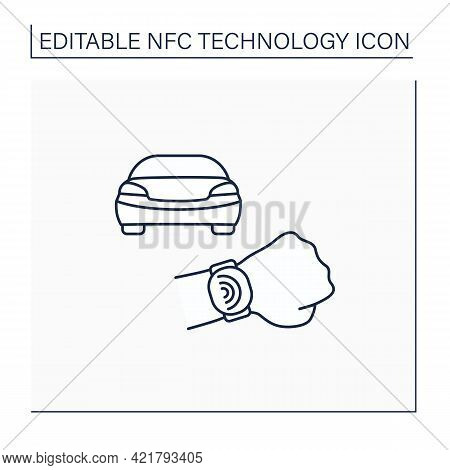Nfc Line Icon. Safety Payment System On Smart Watch. Fast Driving Fines Paying. Modern Technology. N