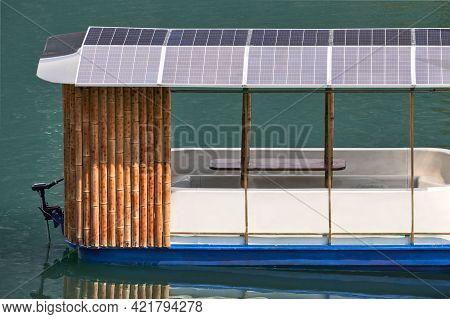 A Self-made Pleasure Catamaran With A Solar-powered Electric Motor.